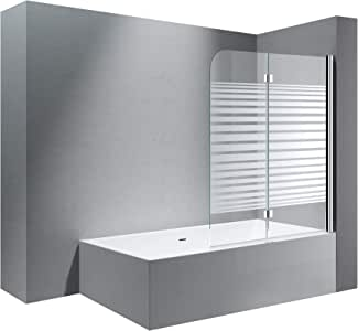 Cortona 1408S - Mampara de cristal para bañera, 117 x 141 cm ...