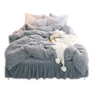 LIFEREVO Luxury Plush Shaggy Duvet Cover Set (1 Faux Fur Duvet Cover + 2 Pompoms Fringe Pillow Shams) Solid, Zipper Closure (King Gray)