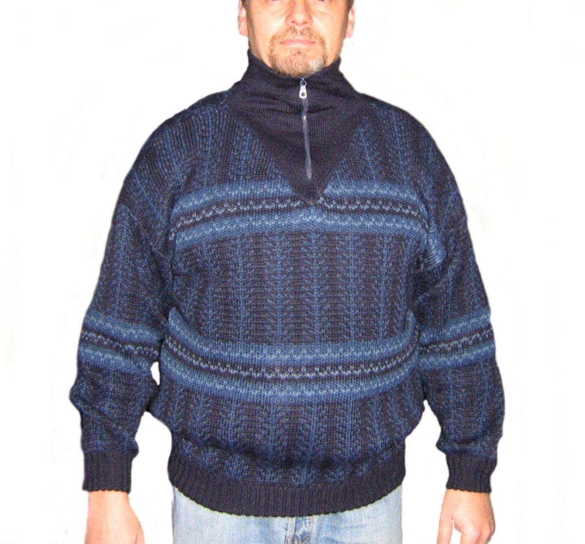 Alpakaandmore Mens Thick Turtleneck Pullover Peruvian Alpaca Wool Blue Tones (Small)