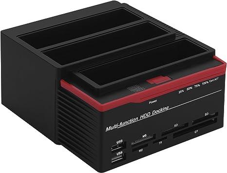 USB 3.0 HDD Docking Station IDE SATA Dual USB Clone Hard Drive Card Reader
