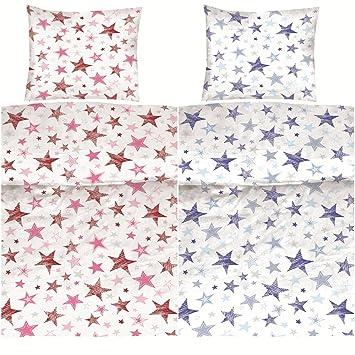 Aminata Kids Bettwäsche Sterne Blau 135x200 Cm Baumwolle Teenager