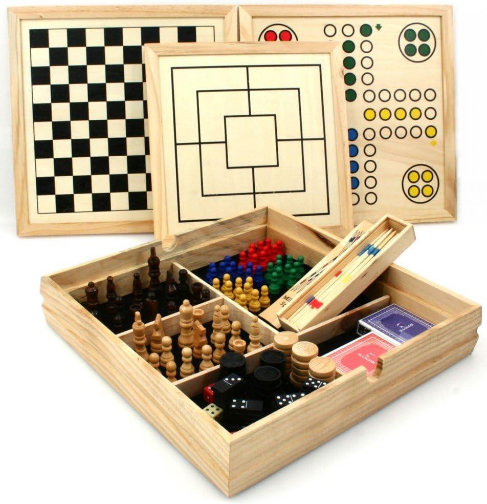 Longfield - Juegos de mesa reunidos (madera, 10 en 1, 36 x 36 cm)