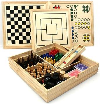 Longfield - Juegos de mesa reunidos (madera, 10 en 1, 36 x 36 cm ...