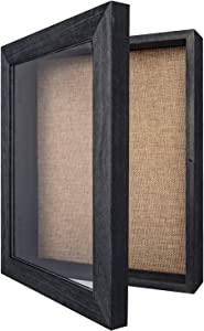 Y&ME Shadow Box Frame with Linen Back, 8x10 inch Black Shadow Box Frame Display Case, Perfect for Display Memorabilia Awards Medals Photos Memory Box (Rustic Black)