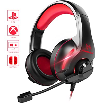 Cascos PS4, YINSAN Auriculares Gaming Estéreo da 3,5 mm Jack con Micrófono Flexible y Luz LED RGB, Cascos Gaming Profesionales para Xbox One Nintendo Switch Laptop Tablet PC Mac Smartphone (Rojo)