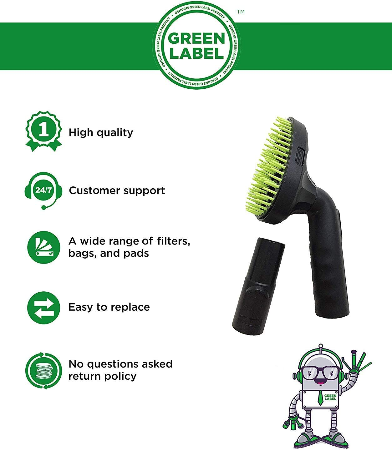 Pet Hair Brush for Dyson. Vacuum Cleaner Nozzle Attachment Grooming Tool (with Dyson Adapter). Genuine Green Label Product