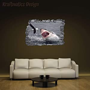 """Shark Coming Out of The Water 3D Series Nursery Wall Decal Vinyl Sticker for Home Decor. by Kraftmatics Design (Small W 23"""" x H 15"""")"""