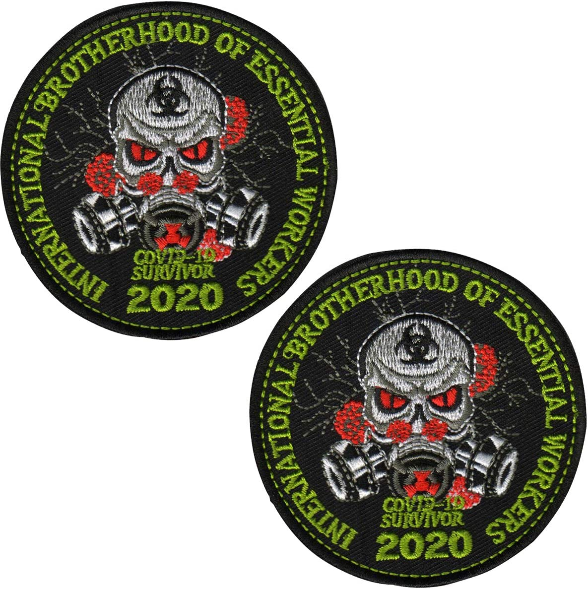 International Brotherhood of Essential Workers COVID-19 Survivor 2020 Embroidered Patch 3.15 Inch Emblem Tactical Military Morale Funny Patches Badges Appliques with Fastener Hook and Loop Backing