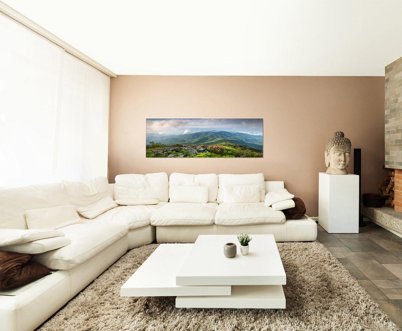Wandbild auf Leinwand als Panorama in 150x50cm Landschaft Berge Wiese Wolkenhimmel Natur