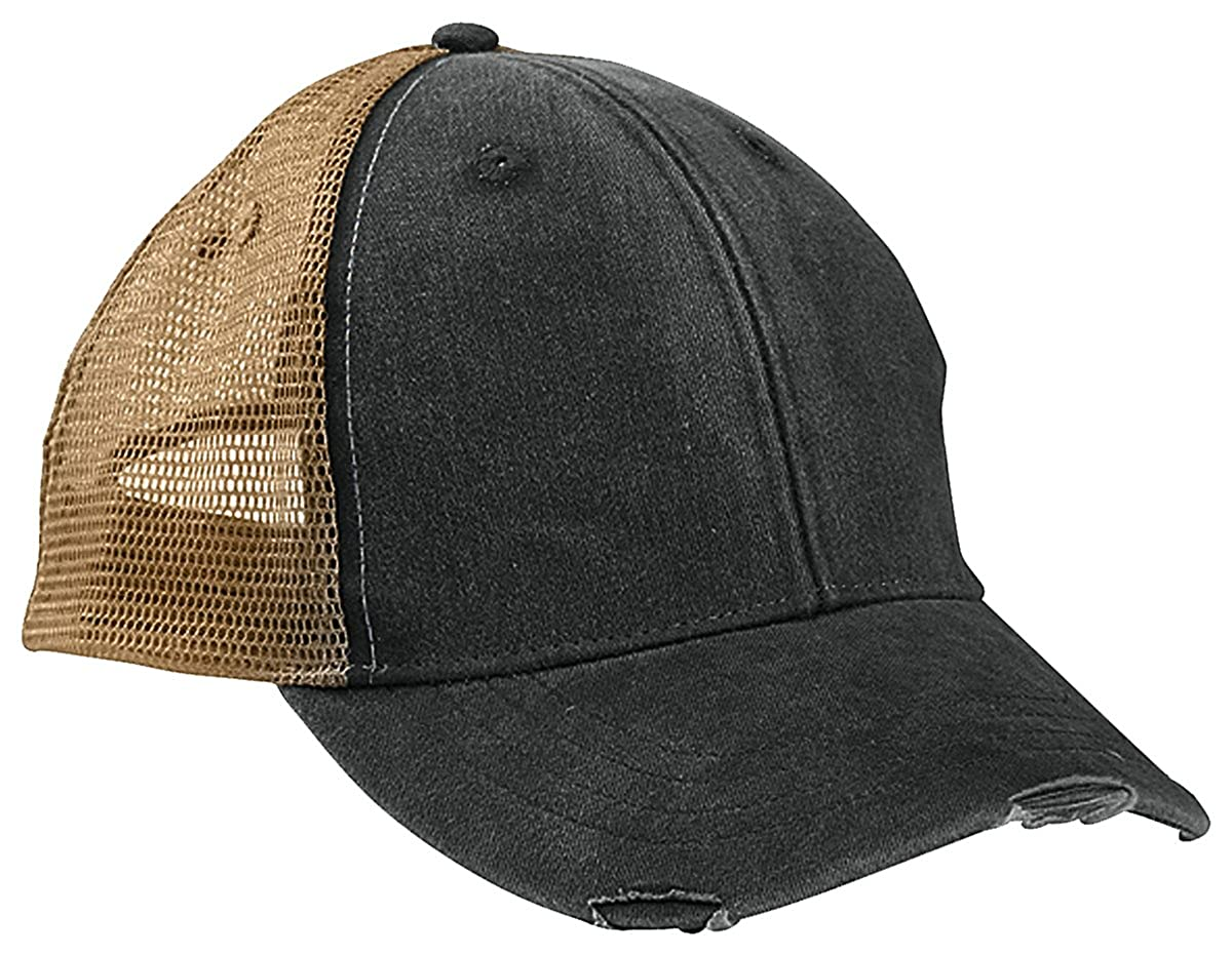 ae01a805d Amazon.com: Adams 6-Panel Pigment-Dyed Distressed Trucker Cap OS ...