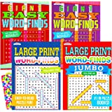 Word Find Puzzle Books for Adults Seniors - Set of 4 Jumbo Word Search Books with Large Print (Over 380 Pages Total with…