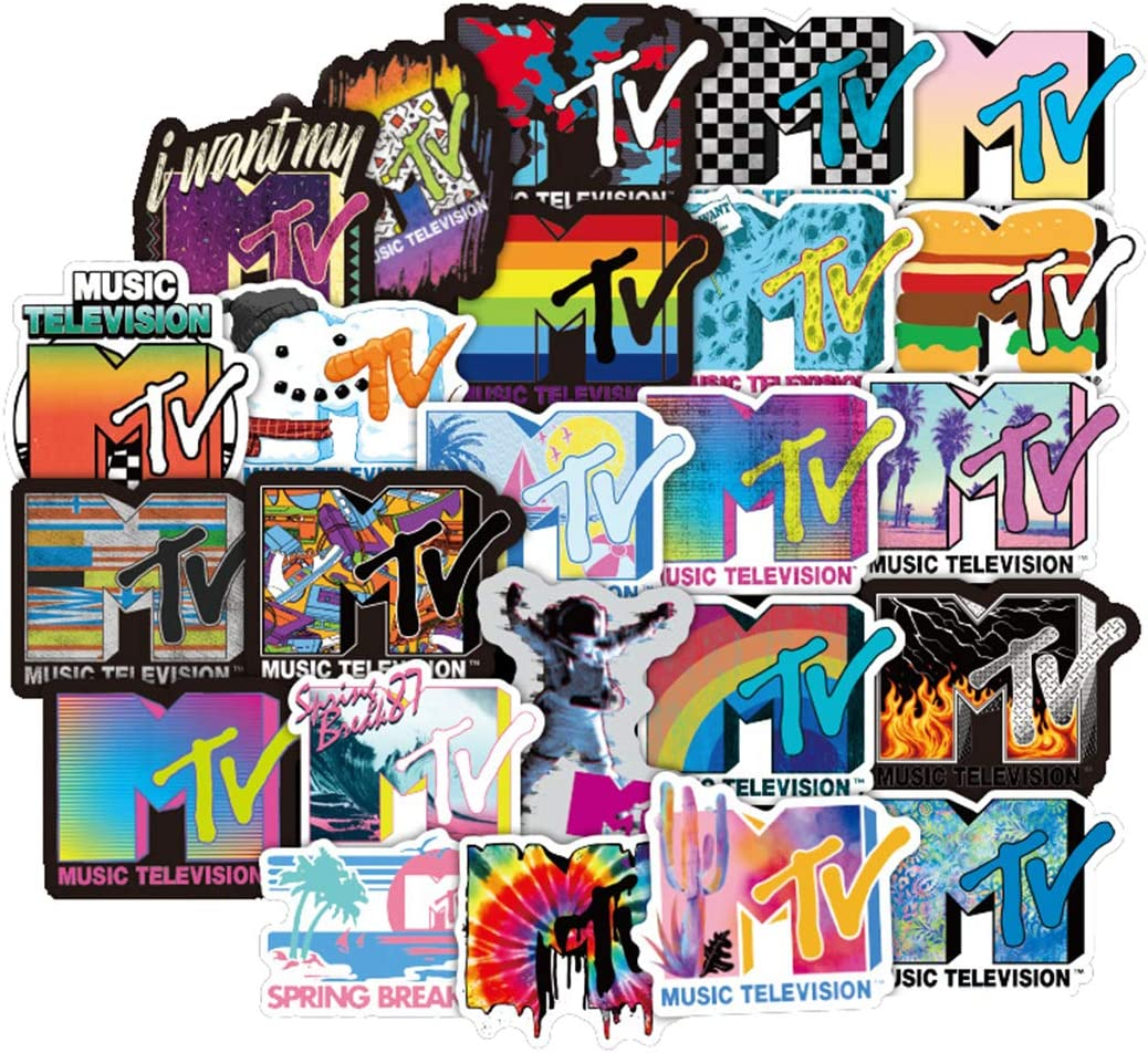 50Pcs Fashion Brand Logo MTV Cool Stickers for Water Bottle Cup Laptop Guitar Car Motorcycle Bike Skateboard Luggage Box Vinyl Waterproof Graffiti Patches JKT