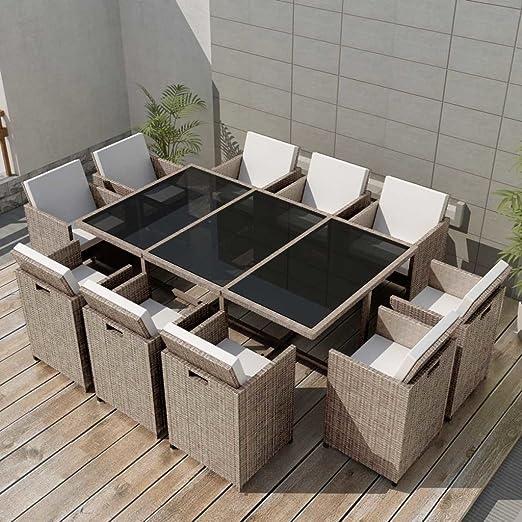 Tidyard Conjunto Muebles de Jardín de Ratán 31 Piezas Sofa Jardin ...