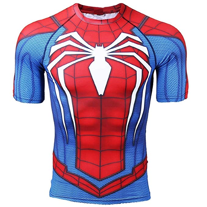 dec7e916 Spiderman Compression Shirt for Mens Gym Tee 3D Printed Top (XXX-Large) Red