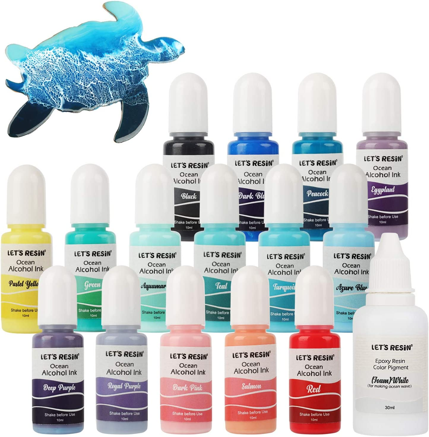 Alcohol Ink Set- LET'S RESIN Highly Saturated Ocean Alcohol Inks,Pastel Colors Alcohol-Based Ink,Alcohol Inks for Resin Epoxy,Ocean Wave Painting,Resin Art,Tumblers(16x 0.35oz)