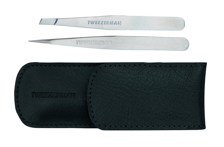 Tweezerman  Petite Tweezer Set, Black Leather Case