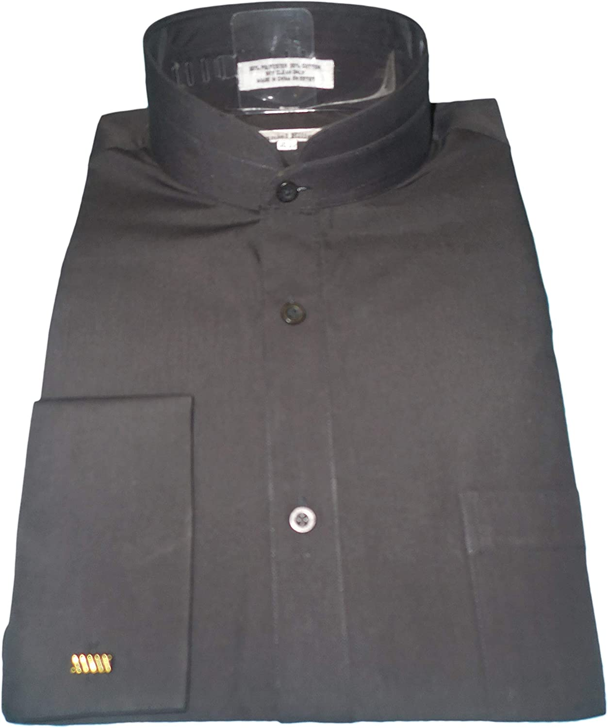 Men/'s Solid Banded Collar French Cuff Dress Shirt Solid Color