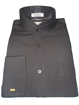 82b2b02cd580 Daniel Ellissa Mens Black Tall Nehru Banded Collar French Cuff Shirt  DS3002C (M 15.5 Collar
