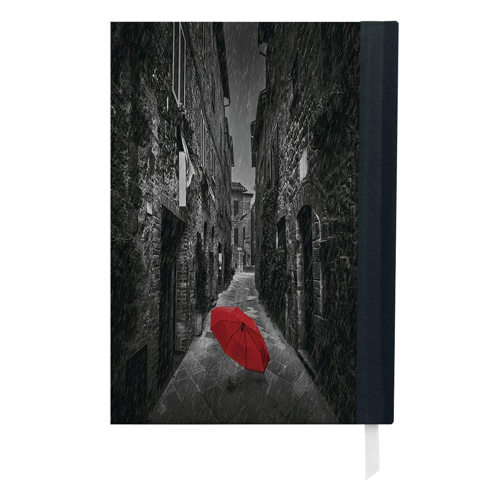 Amazoncom Black And White Red Umbrella On A Dark Narrow Street