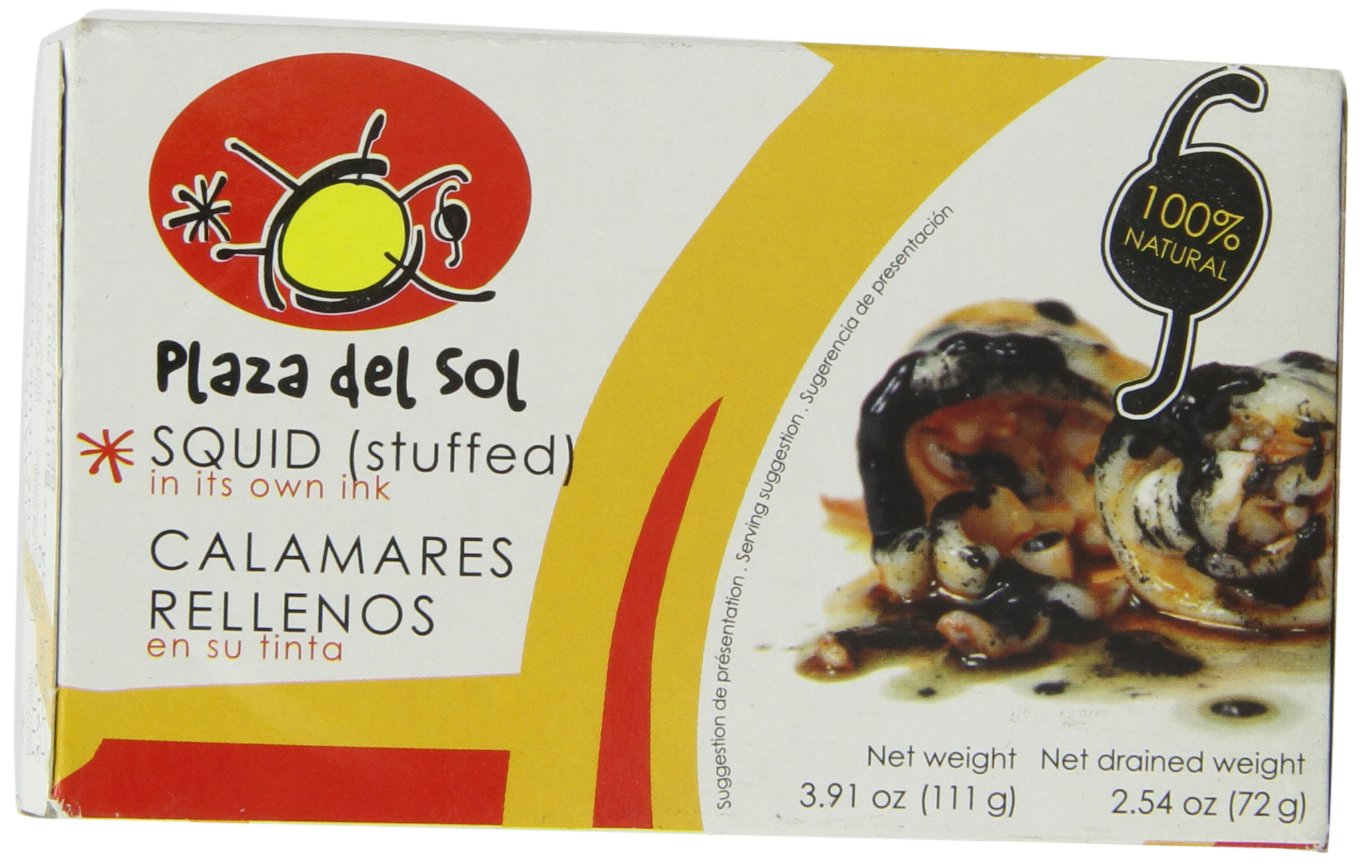 Plaza del Sol Squid Stuffed in Their Own Ink, 3.8 Ounce: Amazon.com: Grocery & Gourmet Food