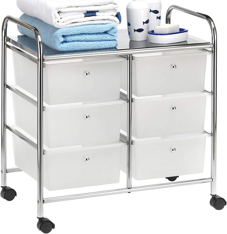 IDIMEX Caisson sur roulettes GINA Chariot avec 20 tiroirs en Plastique Blanc  Transparent et 20 étagère, Meuble de Rangement pour Salle de Bain en métal