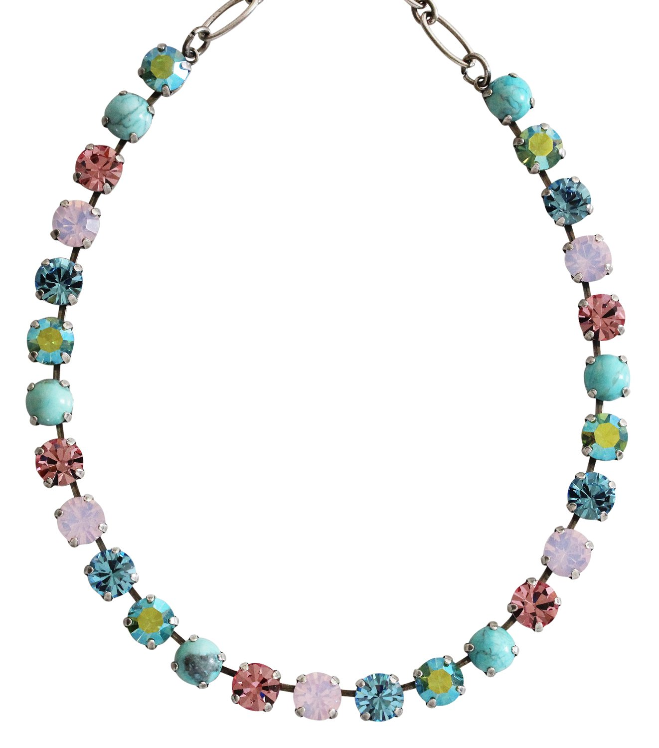 Mariana Silvertone Classic Shapes Crystal Tennis Necklace, Summer Fun Blue Pink Multi Color 3252 M75-2