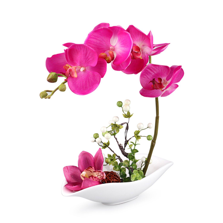 Louis Garden Artificial Silk Flowers 7 Head Simulation Phalaenopsis Bonsai (Simulation of Water) (Purple)