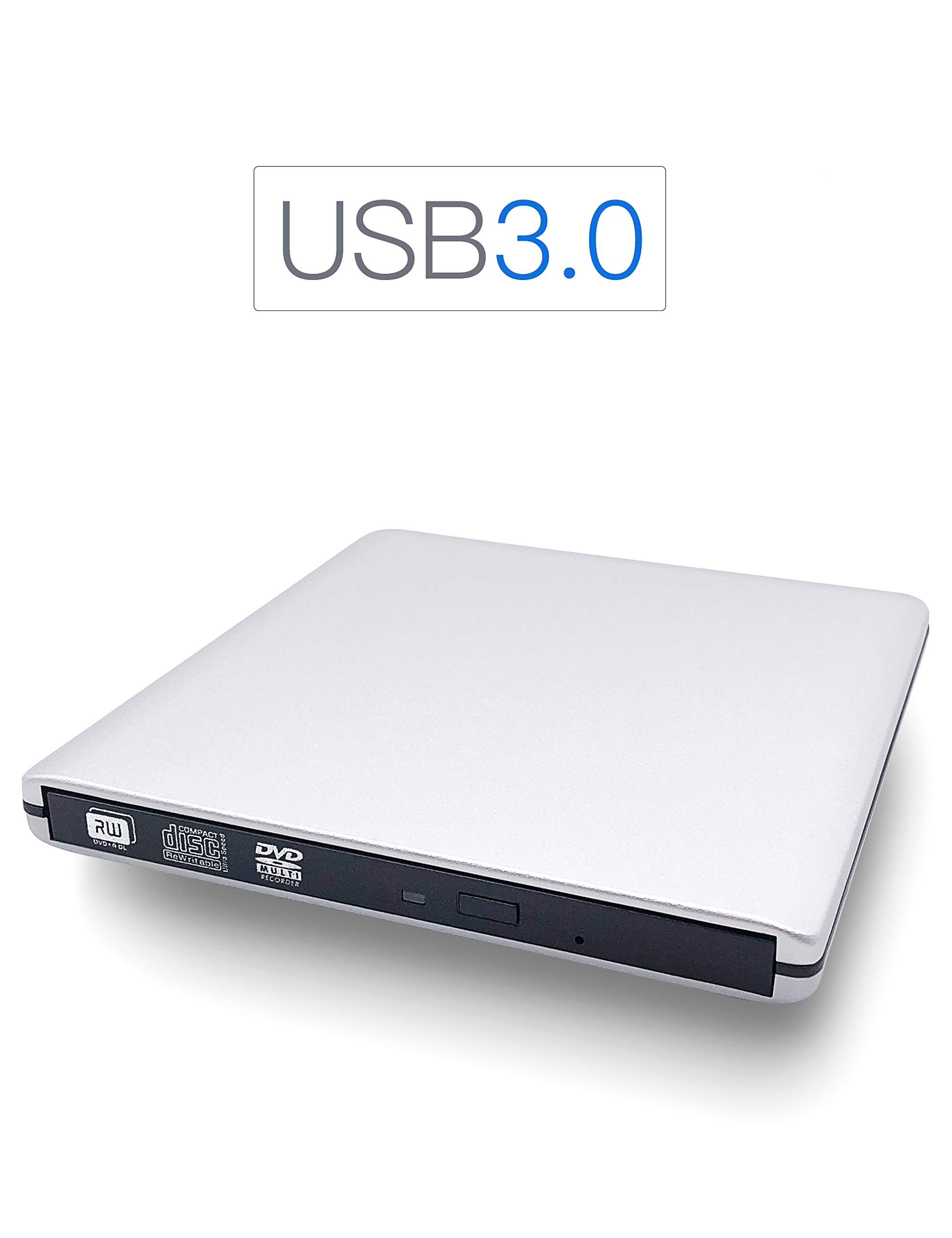 External CD DVD Drive, Haiway USB 3.0 Portable Ultra-Slim Re-Writer Burner Super-Drive High Speed Data Transfer for Laptop Desktop PC Win 7/8/10 Linux OS Apple Mac (Silver)