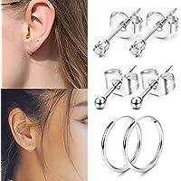 Yadoca 3 Pairs 925 sterling silver stud earrings for man women steel ball CZ stud hoop piercing earrings set