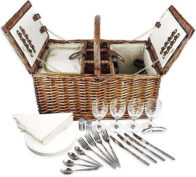 Table Top Picnic Basket Romantic Picnic Wine Decor Spring Romance Faux Picnic Basket Kitchen Decor Spring Picnic Wine Basket
