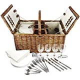 Delux Double Lid Classic Wicker Picnic Basket - Large 4-Person Picnic Supply Set with Insulated Cooler Bag, Includes Silverware, Glasses and Accessories