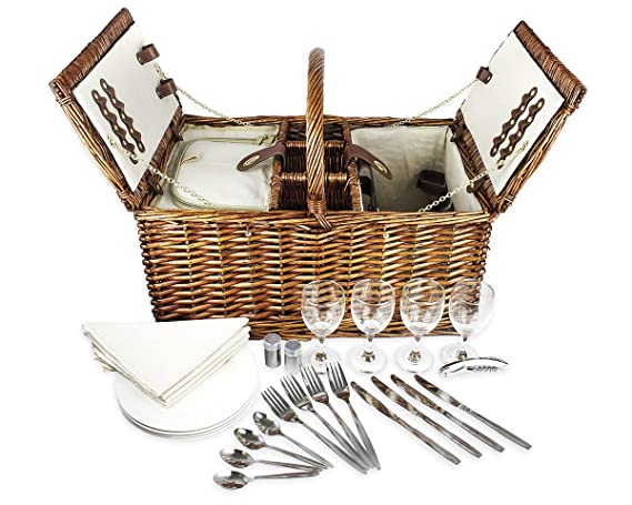 Delux Double Lid Classic Wicker Picnic Basket - Large 4-Person Picnic Supply Set with Insulated Cooler Bag, Includes Silverware, Glasses and Accessories best picnic baskets