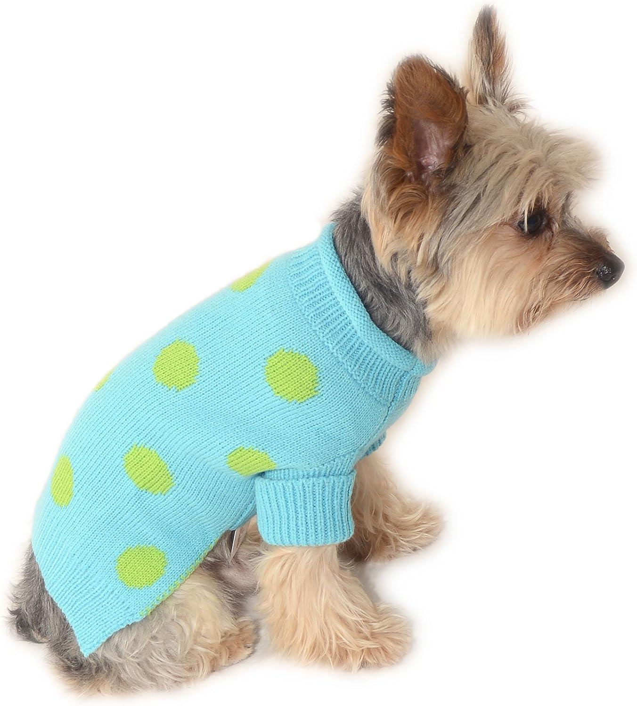 Stinky G Aqua Blue Dog Pet Sweater with Green Polka Dot