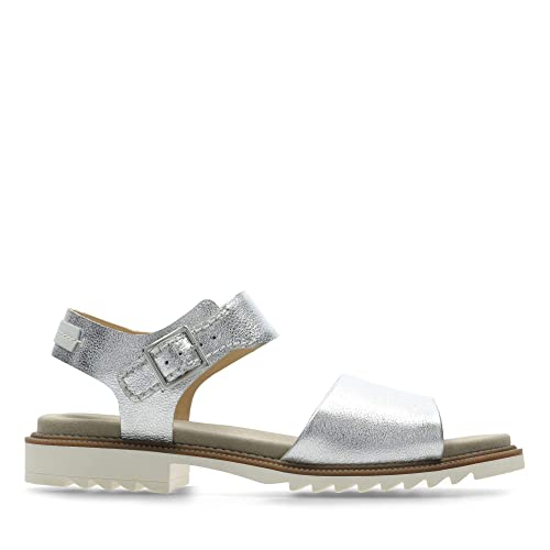 Clarks Ferni Fame Leather Sandals in Silver Standard Fit