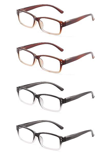 9f63f944b2 JM 4 Paquete Bisagras de Resorte Plástico Gafas de Lectura Rectangular  Lectores Hombre Mujer +1.0
