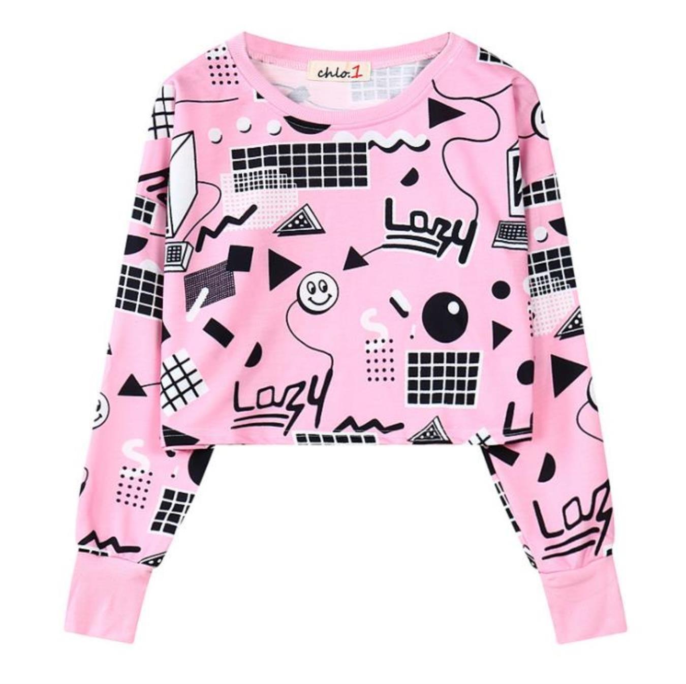 New Harajuku Style Fall Women Printed Short Sweatshirts Long Sleeve Geometry Printed Hoodies Hip Hop Crop Tops