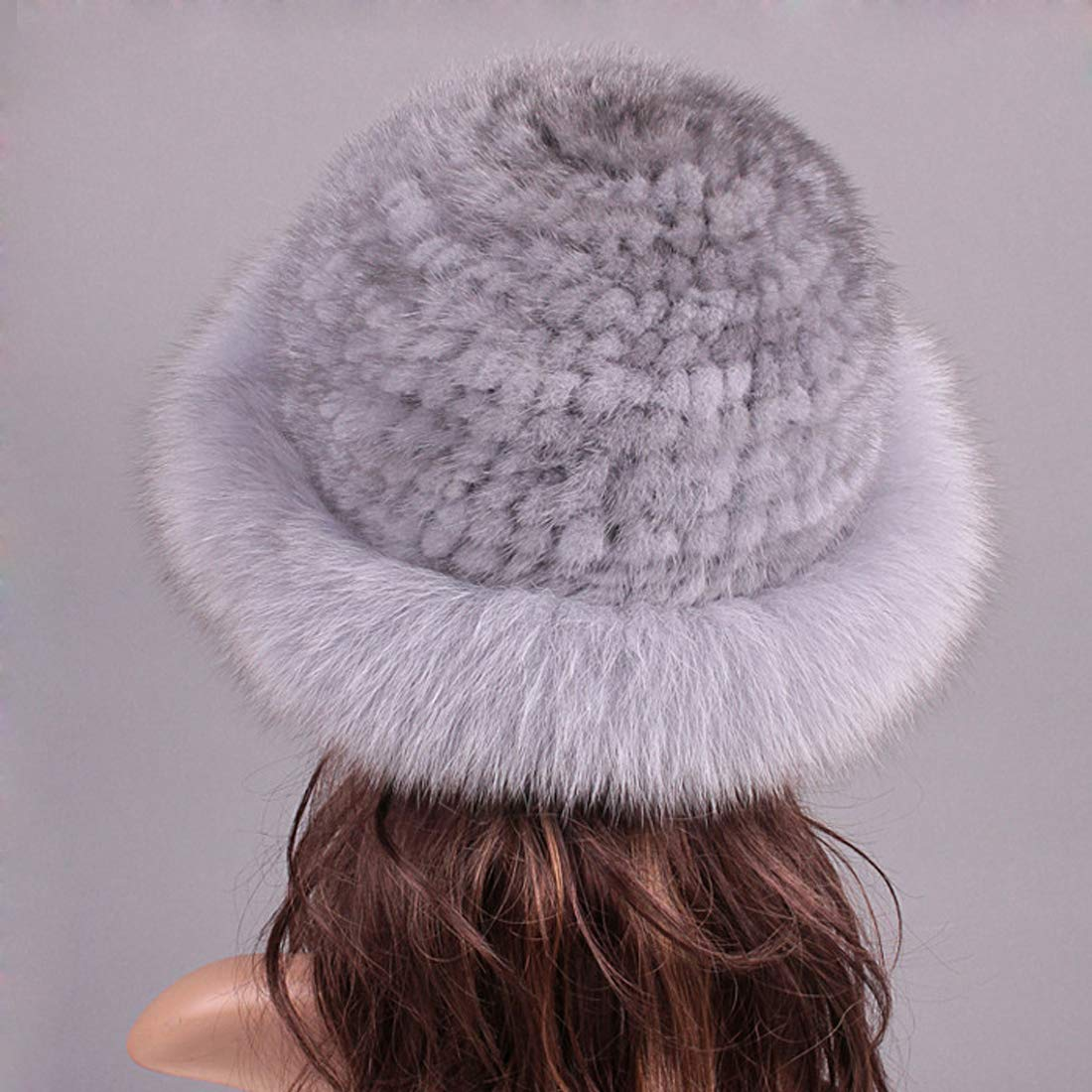 Womens Winter Hat Knitted Mink Real Fur Hats with Fox Fur Brim Elegant Hat for Women Grey by ClimbUp (Image #6)