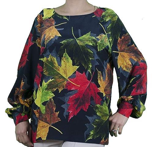 SARA GHIAIE-Camisa de Seda Ancha-Mujer-Hecha en Italia-Totalmente Hecha a Mano-Negra con Hojas de Otoño-100% Seda: Amazon.es: Handmade