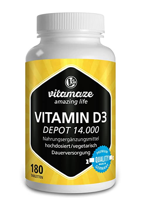 Vitamaze® Vitamina D3 14.000 UI altamente concentrada (dosis de 14 días), 180 comprimidos vegetarianos, producto alemán de calidad