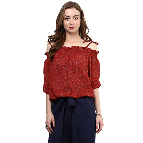 790fc552f8e015 Rare Women s Georgette Printed Off-Shoulder Top  Amazon.in  Clothing ...
