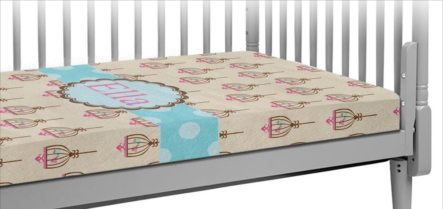 Kissing Birds Crib Fitted Sheet (Personalized) by RNK Shops (Image #1)