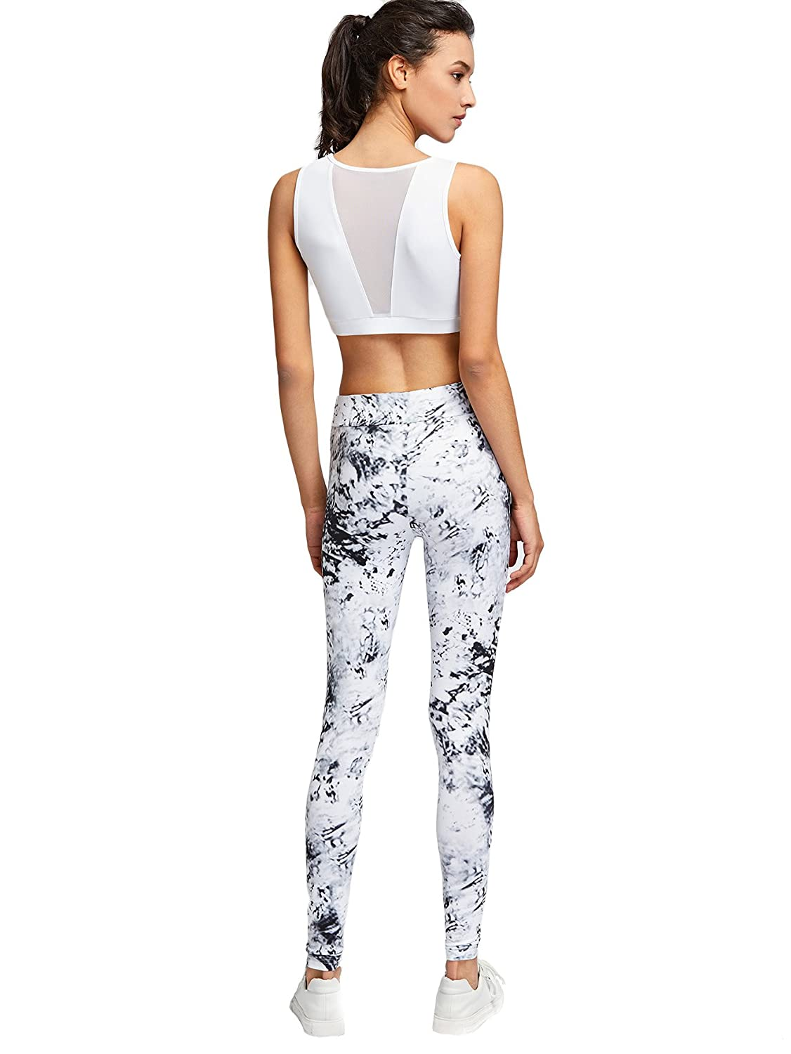 f0b1d0790 SweatyRocks Women's Sport Bodycon 2 Piece Outfit Crop Top Long Skinny Pant  Set Tracksuit Multicolor S at Amazon Women's Clothing store: