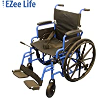 """EZee Life Lightweight Folding Aluminium Wheelchair with Flip Back Desk Arms, Adjustable Armrest, Removable and Swing-Away Footrest - 20"""" Seat Width"""