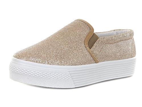 e1e074cacfad3d Damen Plateau Sneaker Slipper Metallic Glitzer Look (40