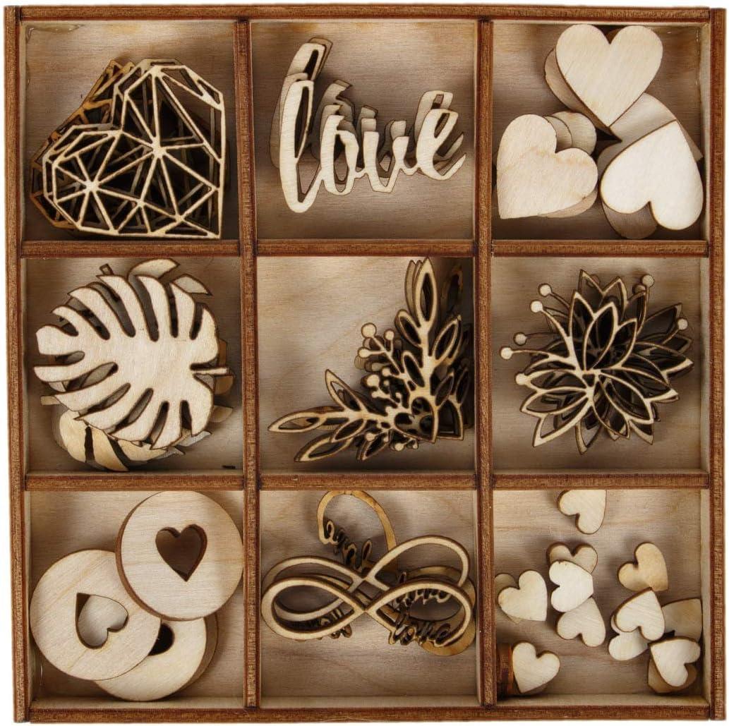 holzalbum D/écoration de Mariage 51 pi/èces 7 Motifs c/œurs en Bois sculpt/é Scarbooking d/écoration de Table Artisanale Love Fleurs