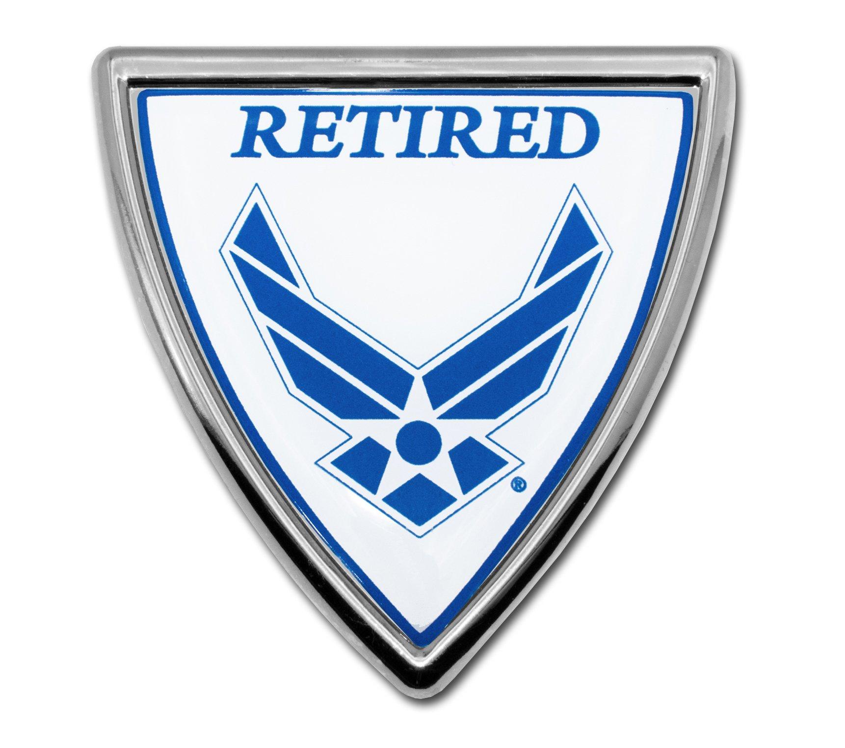 Elektroplate Air Force Retired Shield Chrome Auto Emblem by Elektroplate