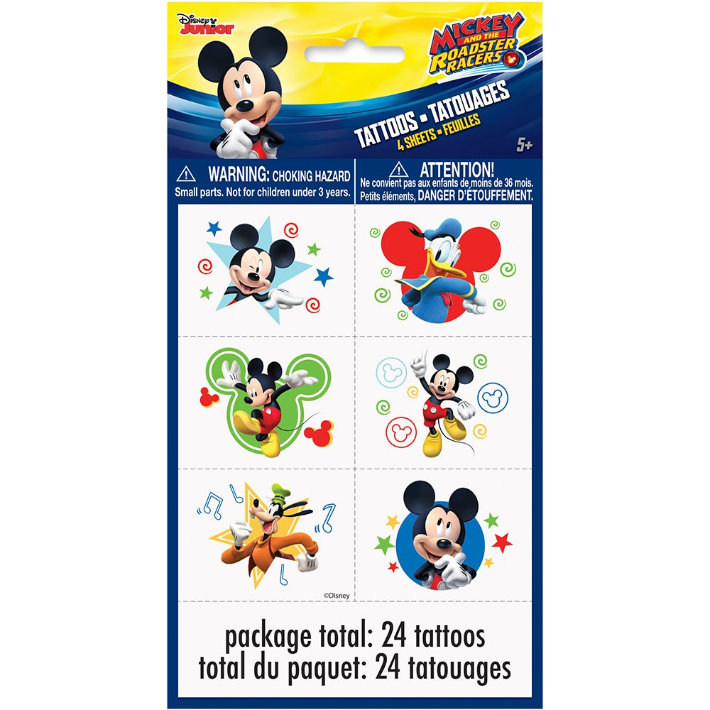 Disney Mickey Roadster Color Tattoo Sheets, 4ct