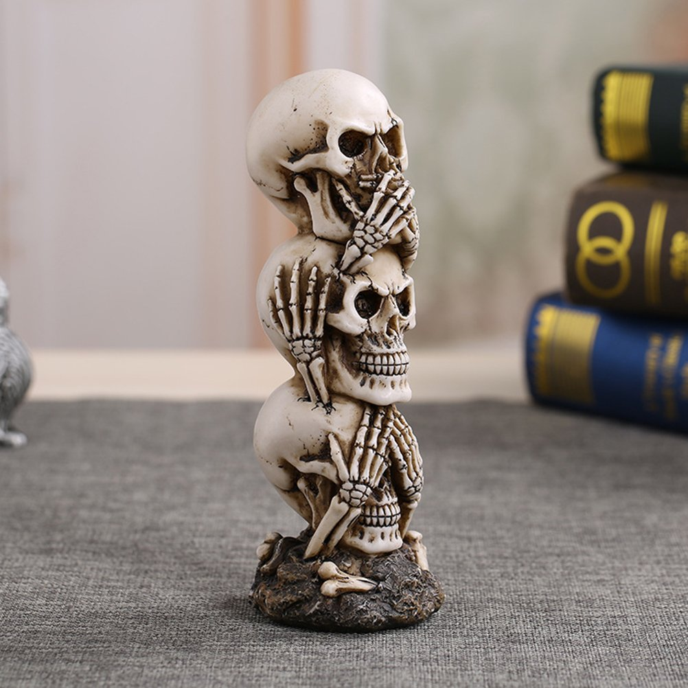 Speak-no Evil T/ête de Mort Statue Sculpture Figure Squelette BESTOYARD Hear-no See-no