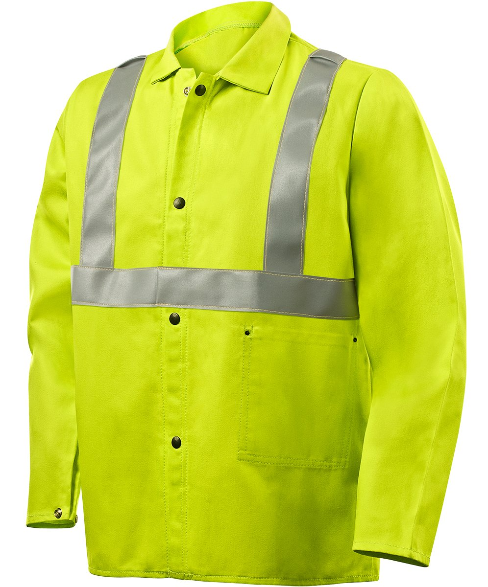 Steiner 1070RS-X 30-Inch Jacket, Weld Lite 9-Ounce Fire Resistant Cotton Lime Green with Silver Reflective Stripes, X-Large