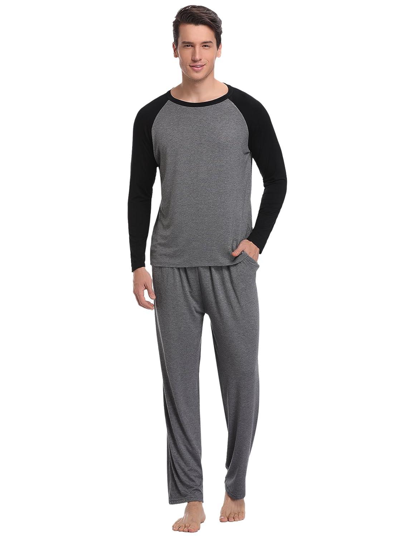 Aibrou Men's Cotton Sleepwear Long Sleeve Raglan Top and Bottom Pajama Set